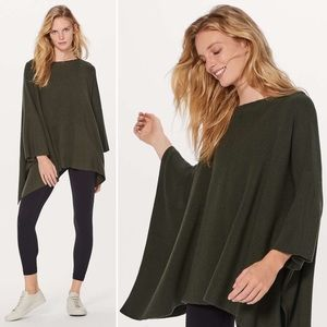 Lululemon | Be Cozy Wool Poncho in Olive Green
